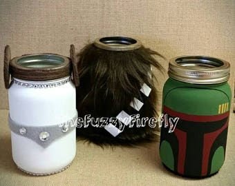 Choice of 2 Star Wars Inspired Mason jar Centerpiece Decor,leia Decorations,Star wars baby shower,chewbacca,Boba fett,dart vader