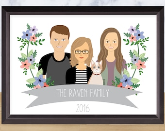 Custom Illustrated family portrait, sentimental gift, personalized wall art, custom family drawing, Paper anniversary gift, Unique art