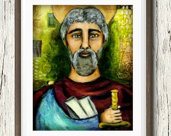 "5x7"" Saint Paul the Apostle Icon, Art Print, Catholic Gift, Catholic Artwork, Catholic Home Decor, Saint Portrait, Confirmation Saint"
