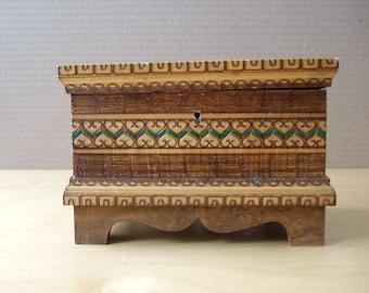 Vintage 1970's Wooden Box for Jewelry, Keepsakes, Etc