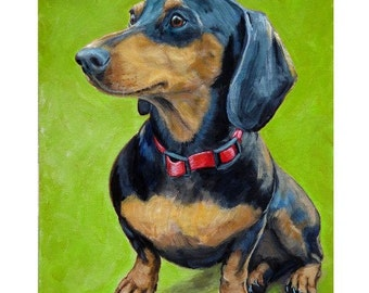 Dachshund Dog Art print by Dottie Dracos, Black and Tan Doxie Sitting, on Lime Green