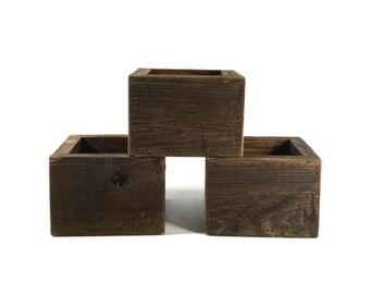 Planters - 3 Reclaimed Wood Boxes - Succulent planter - Garden Decor
