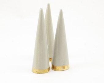 Modern Ceramic Ring Cone Holder Storage Jewelry Organization Display: Warm Gray Gold Bottom