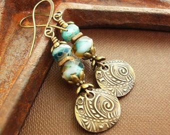 Mother's Day Gift, Rustic Sea Blue Czech Glass & Brass Charm Earrings, Unique Long Boho Dangles, Rich and Ornate Gypsy Jewelry, Gift for Her