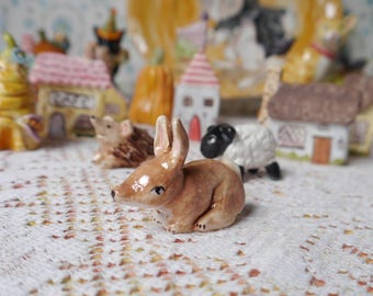 Tiny Ceramic Bunny Rabbit, Handmade Porcelain Figurine