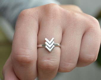 Silver Bohemian Ring, Silver Ethnic Ring, Tribal Ring, Triple V Silver Ring