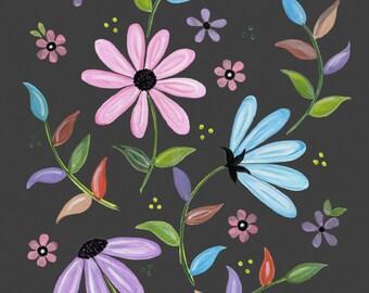 Kids Art Print of Daisy Flower Garden Painting - Girls Room Kid Wall Art Prints - Baby Nursery, Child & Teen Decor - HARVEST FLOWERS by TLW