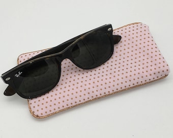 Fabric glasses case pink copper dots