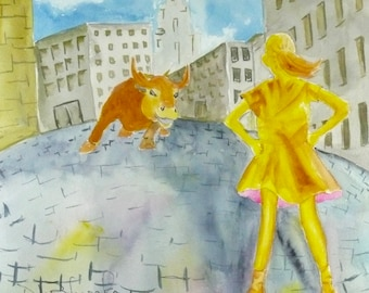 Fearless Girl Golden Girl Nevertheless She Persisted Original Watercolor Painting Brave Girl New York  #MeToo Girl Power Office Decor