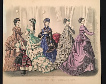 1870 Antique Victorian Fashion Print, Original Hand Colored Engraving from Godey's Fashions, Vintage Print for Framing
