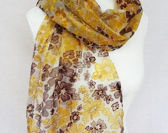 Brown Silk Scarves hand painted Silk Scarf brown  and yellow  ,  handpainted silk scarf   ,silk scarf gold ,  silkscarvesparis