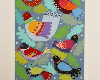 The Bird Tree - Folk Art - Giclee Unframed Fine Art Print
