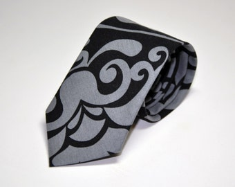 Toddler Necktie Black and Gray Modern Damask Baby Tie