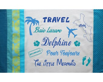 Pillow cover personalized turquoise with first names, words to choose 65 x 40 cm