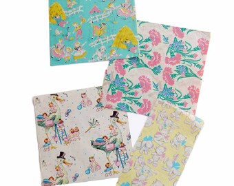 1950s Vintage Gift Wrapping Paper Lot Fun All Occasion Baby Shower Stork Gift Wrap New Baby Mother Present Nursery Rhymes