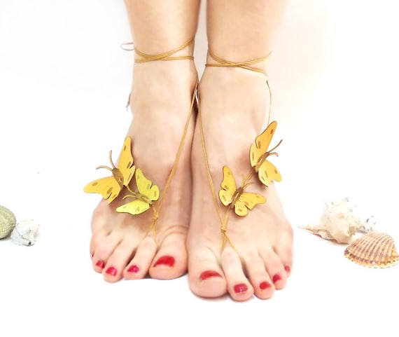 sandals summertime genuine nude gift for shoes Barefoot leather yellow her trend sandals butterfly barefoot nude sandals shoes shoes Bndgq4