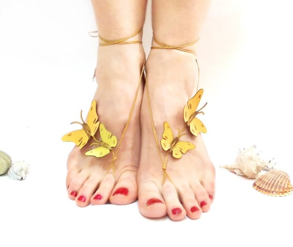 nude butterfly nude shoes leather trend summertime sandals sandals shoes shoes gift her genuine Barefoot barefoot yellow sandals for qngaB