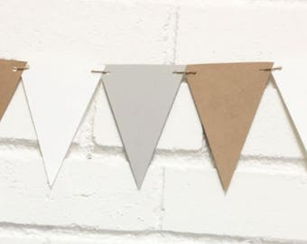 Mini flags, pennants, party decor kids, birthday Garland, banner room baby, natural white gray Triangles, Flag Baby shower