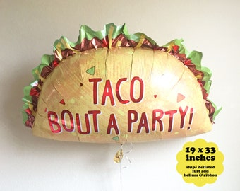 "Taco Bout A Party Fiesta Decorations - 33"" - Taco Birthday Party Decor Taco Balloon Fiesta Party Balloon Taco Party Balloon Taco Twosday"