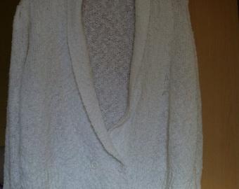 Sale 1980s Womens White Popcorn Knit Shawl Collar Cardigan Sweater sale