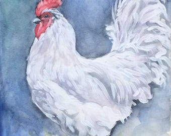 Original Rooster Painting, Lavender Orpington, Farmhouse Style, Chicken, Original Watercolor, Kitchen Art, Rustic Decor