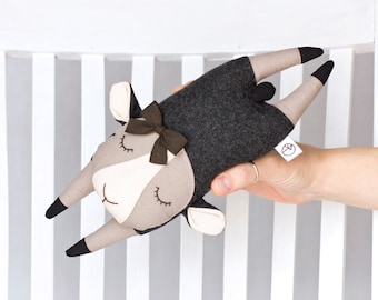 Flying Sheep, Plush for babies, Small Pillow, Soft Toy made with Cotton Fabrics and Pure Virgin Wool, Nursery Toy, Black Sheep