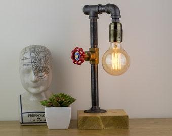 Salisbury : Industrial lamp / Edison Lamp / Pipe Lamp / Steampunk lamp /  Industrial Lighting / Table Lamp / Lighting/ Home Decor/Industrial