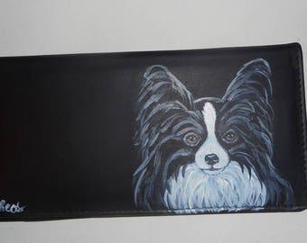 Papillon Dog Custom hand Painted Leather Deluxe Checkbook Cover Checkbook Holder