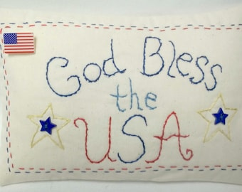 Patriotic Embroidered Mini Pillow, God Bless The USA, July 4, Independence Day