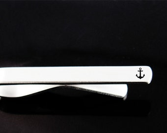 Anchor Tie Clip, Engraved Tie Bar, Personalized Tie Clip, Custom Gift, Father's Day, Man Gift, Custom Tie Clip, Groomsman Gift, Wedding
