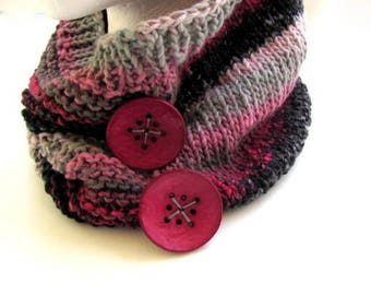 Button Cowl in Rose and Gray FREE US Shipping