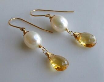 Citrine White Pearl Gold Handmade Earrings