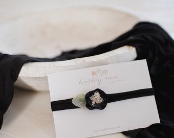 Newborn Black Wrap Prop Set - matching headband