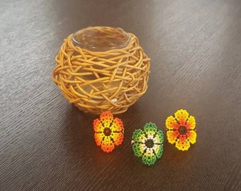 Huichol Jewelry - Huichol Beaded Ring - Boho Ring- Mexican Jewelry - Beaded Ring - Flower Ring -Mexican Ring -Statement Ring -Funky Ring