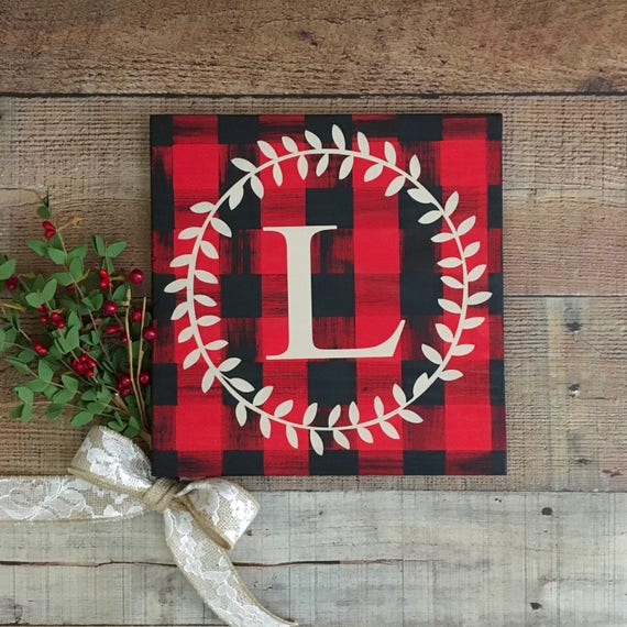 Buffalo Check Decor,Monogram Home Decor,Buffalo Plaid Christmas,Country Home Decor,Rustic Decor,Plaid Sign,Holiday Gift,Country Christmas