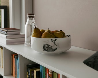 Ceramic Decorative Bowl. Bowl with Whale painted on, a perfect MidCentury addition to a chic interior