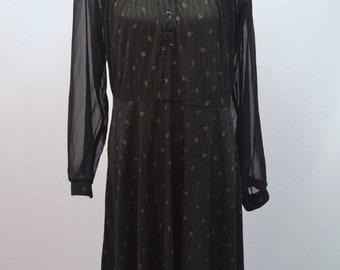 1970s sheer leaf pattern midi shirt dress with gold leaf pattern