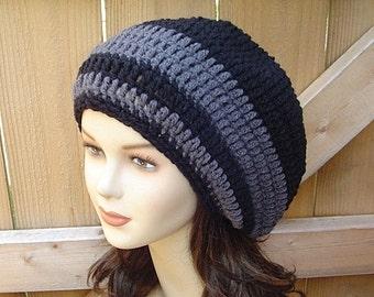 Slouchy Hat, Black dark gray slouchy Beanie, Baggy, small Dread Tam hat, Slouch Beanie,  women men beanie, charcoal black beanie, winter hat