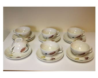 Franciscan Cups and Saucers Autumn Leaves Pattern Gladding McBean + Co. Mid Century Modern Ceramics California Pottery Coffee or Tea
