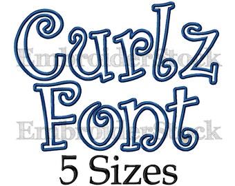 Curlz Applique Font Curlz Font Applique Embroidery Font Curlz Monogram Font Machine Embroidery Fonts For Embroidery - 5 Sizes