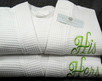 His and Hers Monogrammed Waffle Robe, Personalized Wedding Gift, Cotton Anniversary Gift, jfybride