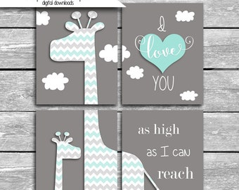 Set Of FOUR 5x7 OR 8x10 Coordinates With Peanut Shell Uptown Giraffe Crib Bedding - I Love You As High As I Can Reach - Nursery Art
