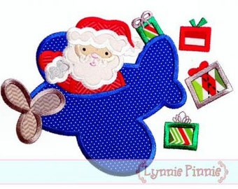 SANTA in AIRPLANE Applique 4x4 5x7 6x10  Machine Embroidery Design Christmas  presents flying  INSTANT Download