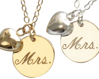 Mrs. Necklace Engraved Mrs. Necklace Just Married Necklace with Puffed Heart Charm New Bride Bridal Shower Gift Honeymoon Gift Bride