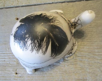 Horse Hair Pottery Turtle with Feather- Made to Order