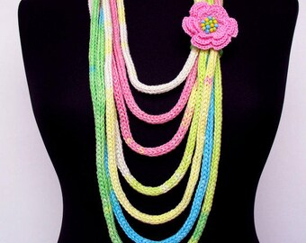 Knit Scarf Necklace,Multi strand necklace,Infinity Hand Knitted scarflette,with crocheted flower brooch,in blue,yellow,pink,green,white E017