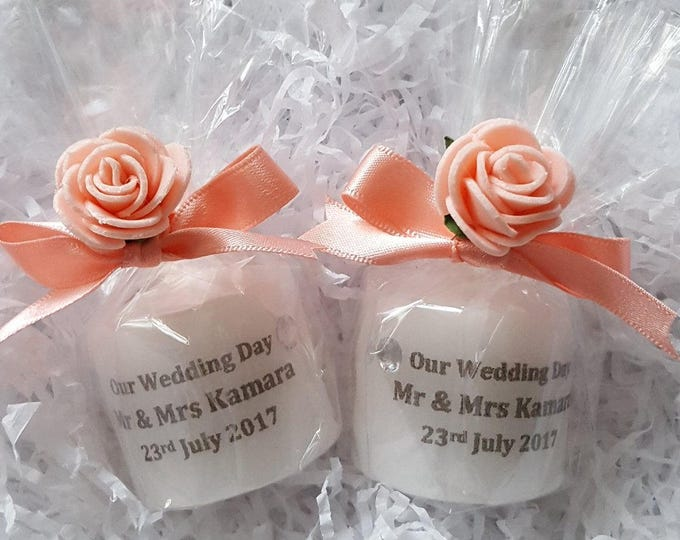 Coral personalised wedding candle favours