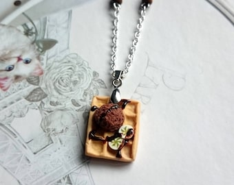 Necklace chocolate banana waffle square polymer clay