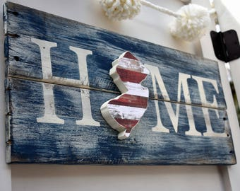 New Jersey Pallet - Red White and Blue - Housewarming Gift - Going Away Gift - New Jersey Decor - USA Sign - Patriotic- American Decor