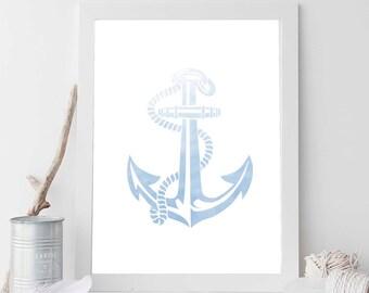 Blue Anchor, Sky Blue, Nautical Print, Ocean Art, Beach Print, Nautical Decor, Nautical Nursery, Bathroom Decor, Bathroom Print, Ocean Print